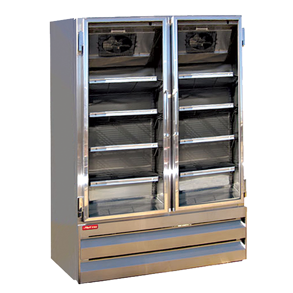 "Howard McCray GR42BM-B 57.25"" Two Section, Self-Contained Refrigeration with Two Hinged Glass Doors, Bottom Mount Compressor, Black, 115v/60/1-ph"