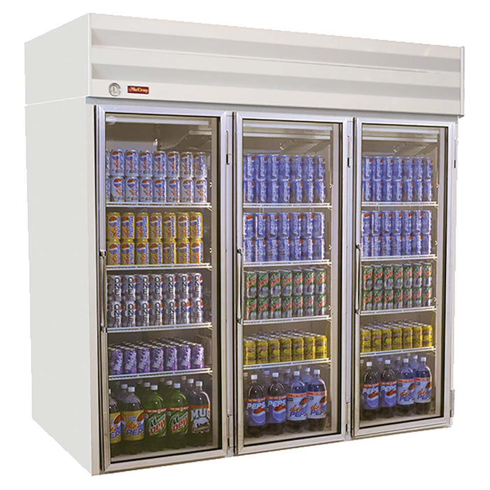 "Howard-McCray GR75 - 78"" Refrigerated Merchandiser, 3 Section, Top Mount, 75 Cu. Ft. Capacity"