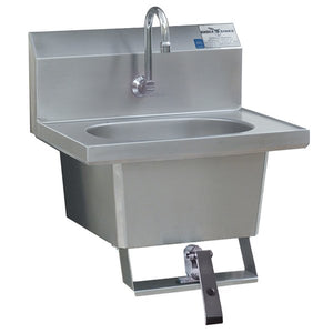 Eagle Group HSA-10-1FK-MG Single Knee Operated Wall Mount Commercial Hand Sink with Goose Neck and Basket Drain