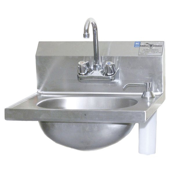 Eagle Group HSA-10-F-DS - Hand Sink with Gooseneck Faucet, Deck Mount Soap Dispenser, and Basket Drain