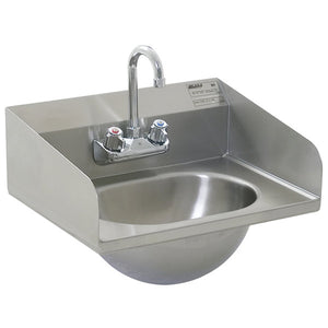 Eagle Group HSA-10-F-LRS Commercial Hand Sink with Goose Neck Faucet, Side Splashes, and Basket Drain