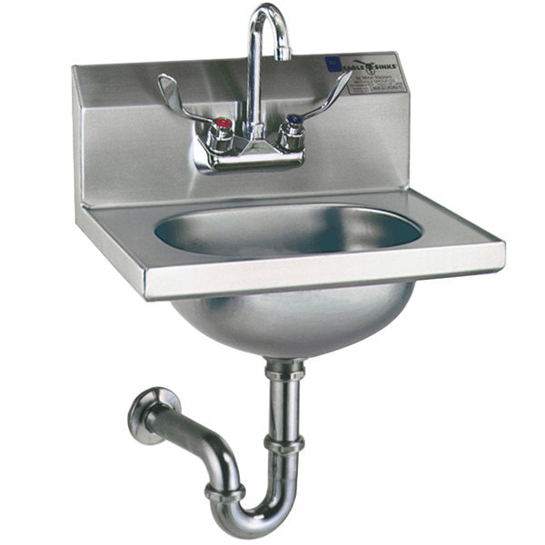 Eagle Group HSA-10-FAW - Hand Sink with Gooseneck Faucet, Wrist Action Handles, P-Trap, Tail Piece, and Basket Drain
