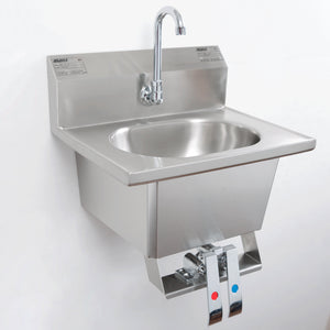 "Eagle Group HSA-10-FK - 13.5"" Hand Sink, Knee Operated Wall Mount Hand Sink with Gooseneck, Knee Pedals, Skirt, and Basket Drain"
