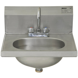 "Eagle Group HSAD-10-F - 16.5""x18.9"" Hand Sink, Wall Mount, With Gooseneck Faucet And Basket Drain"