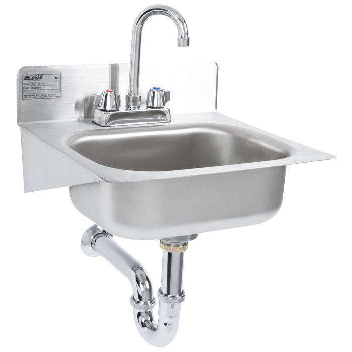 "Eagle Group HSAE-10-FA - 14"" Hand Sink with Gooseneck Faucet, Basket Drain, P-Trap, and Tail Piece"
