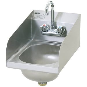 "Eagle Group HSAN-10-F-LRS - 18"" x 12"" Hand Sink with Gooseneck Faucet, Side Splashes, and Basket Drain"