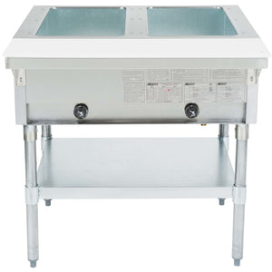 "Eagle Group HT2-LP - 33"" Serving Counter, Hot Food, Liquid Propane Gas, Steam Table, Two Pan 7000 BTU - Open Well"