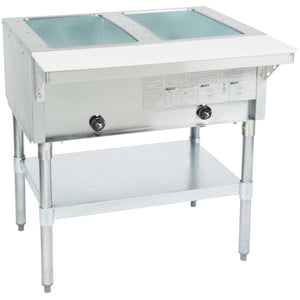 "Eagle Group HT2-NG - 33"" Serving Counter, Hot Food, Natural Gas, Two Pan, Open Well - 7000 BTU"