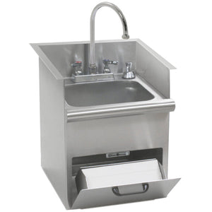 "Eagle Group HWB-T - 17.5"" Drop-In Sink, T&S deck mount gooseneck faucet, Built In Towel Dispenser, Soap Dispenser, and Basket Drain"