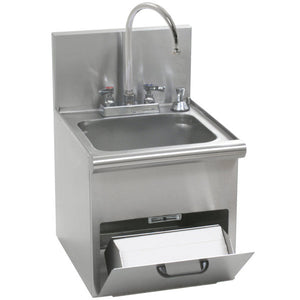 "Eagle Group HWC-T - 14""x16.7"" Hand Sink, Space Saver, with T&S Gooseneck Faucet, Built In Towel Dispenser, Soap Dispenser, and Basket Drain, 304 Stainless Steel"