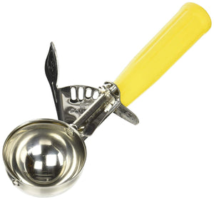 "Winco ICD-20 - 2 Oz. Ice Cream Disher, Yellow, 2.125"" Dia., Size 20, Plastic Handle, 18/8 Stainless Steel"
