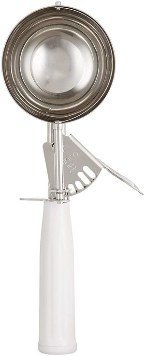 "Winco ICD-6 - 4.66 Oz. Ice Cream Disher, White, 3"" Dia., Size 6, Plastic Handle, 18/8 Stainless Steel"