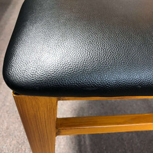 Metal Ladder Back Chair with Natural Wood Grain Finish and Black Vinyl Seat