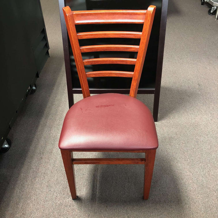Metal Ladder Back Chair with Mahogony Grain Finish and Burgundy Vinyl Seat