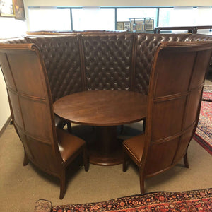"3/4 Circle Mahogany Private Table Booth with 7 Chairs and 58"" D Table"