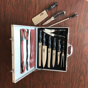 11 Piece Professional Chef's Knife Set w/ Portable Storage Case, Stainless Steel