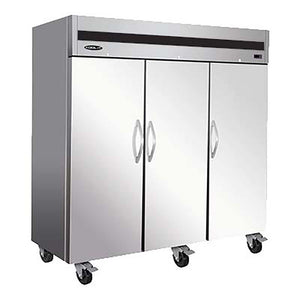 "MVP Group KT82FDV - 81"" Reach-In Freezer, Three-section, (3) Solid Door, Top Mounted, 72 Cu. Ft. Capacity"