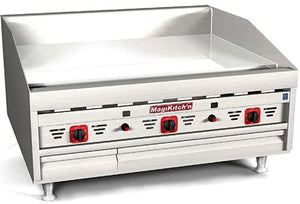 "Magikitch'n MKG-24 - 24"" Gas Griddle, Natural Gas, Countertop, Thermostatic Controls, 1"" Steel Plate, 115V - 60,000 BTU"