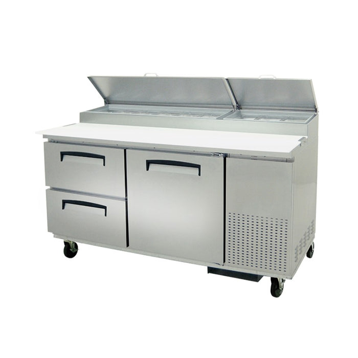 "Fogel MPP-67D - 67"" Pizza Prep Table, 2 Section, 2 Drawers, 1 Door, 2 Shelves, 9 Pans, 18.2 Cu.ft., 1/3 HP, 115V"