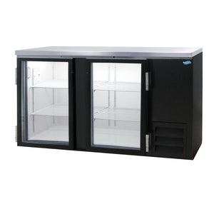 "Fogel MR-25-GL - 70"" Back Bar Refrigerator, 2 Section, 2 Glass Swing Doors, 4 Shelves, 1/4 HP, 19 Cu.ft., 115V"