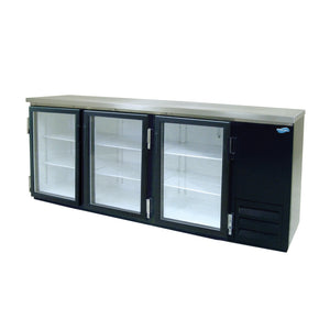 "Fogel MR-30GL - 90"" Back Bar Refrigerator, 3 Section, 3 Glass Swing Doors, 6 Shelves, 26 Cu.ft., 1/3 HP, 115V"