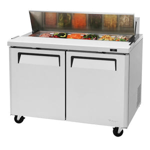 "Turbo Air MST-48-N - 48"" Sandwich/Salad Prep Table w/ Refrigerated Base, Self-contained, (2) Section, (2) Doors, (2) Shelves, (12) Pans, 1/4 HP, 12 cu.ft., 115v/60/1"