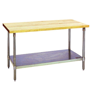 "Eagle Group MT2460B Work Table, 60""W x 24""D, Wood Top, Galvanized Undershelf & Tubular Legs"