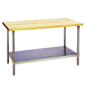 "Eagle Group MT3072B - 30""x72"" Work Table, Flat, Hardwood Top, Galvanized Base, Adjustable  Undershelf"