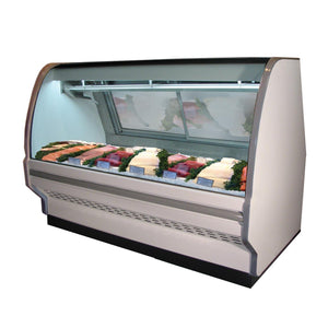 "Howard-McCray SC-CFS40E-6C - 75"" Refrigerated Display Case, Fish & Poultry, single duty, curved glass"