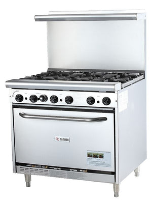 "Saturn SHDR-36-6 - 36"" HDC Series Restaurant Range, 6 Open Burners, Natural gas, Standard Oven - 256,000 BTU"