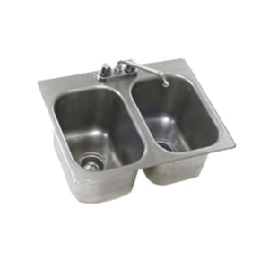 "Eagle Group SR10-14-9.5-2 10"" x 14"" x 9 1/2"" Two Compartment Stainless Steel Drop-In Sink with Deck Mount Faucet and Swing Nozzle"
