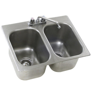 "Eagle Group SR16-19-8-2 - 36.2"" Drop-In Sink, Two (2) Compartment, 16"" x 20"" x 8"" Bowls, Deck Mount Faucet and Swing Nozzle"