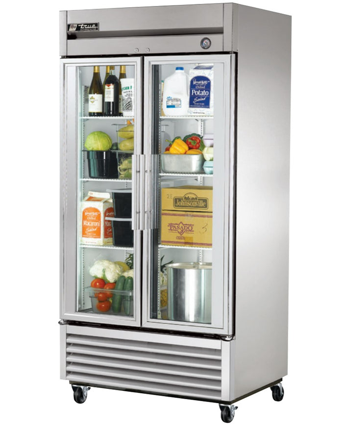 "True T-35G - 39.5"" Reach-In Refrigerator, 2 Section, 2 Glass Door, 6 Shelves, Bottom Mount, 1/3 HP, 35 Cu.ft., 115V"