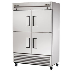 "True T-49DT-4 54"" Reach-In Dual Temp Refrigerator/Freezer, 46 Cu. Ft., 2 Section, 4 Solid Half Doors"