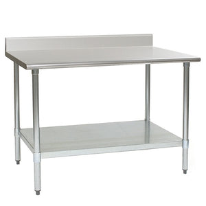 "Eagle Group T2448SE-BS 24"" x 48"" Stainless Steel Work Table with Undershelf and 4 1/2"", Backsplash"