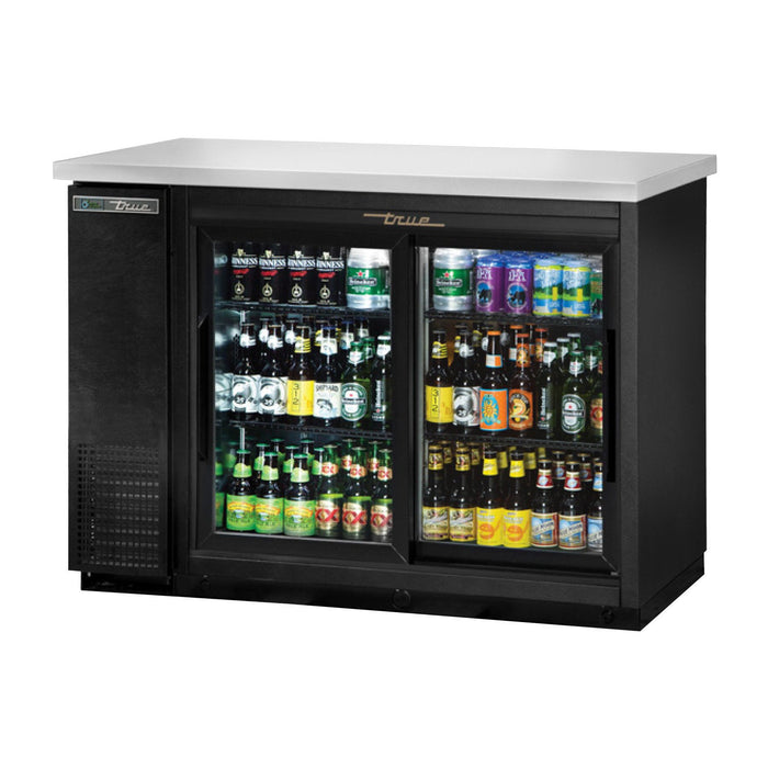 True TBB-24-48G-SD-HC-LD - Back Bar Cabinet, Refrigerated, (2) Section,  (2) Sliding Glass Doors, (2) ½ Keg Capacity, (4) Wire Shelves, 0.2 HP, 115v/60/1