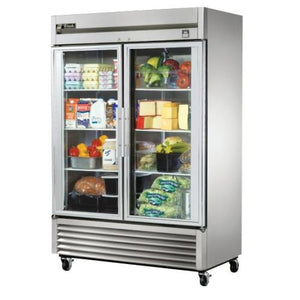 "True TS-49G - 54.2"" Reach In Refrigerator, 2 Section, 2 Glass Door, Bottom Mount, Stainless Steel, 49 Cu.ft., 1/2 HP, 115V"