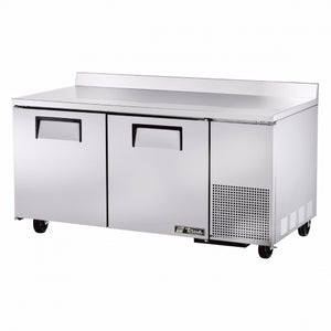 "True TWT-67F - 67.3"" Work Top Freezer, Deep, 2 Sections, 2 Solid Doors, 4 Shelves, 1/2 HP, 115V"