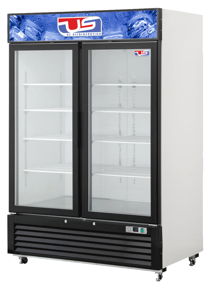 "US Inc USBV-48D - 54.4"" Reach-in Refrigerator, (2) Section, Bottom Mount, (2) Glass Door, (8) Shelves, 48 Cu. Ft. - 115v"