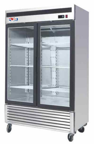 "US INC USBV-48SD - 58"" Refrigerated Merchandiser, 2 Section, 2 Glass Door, 6 Shelves, Bottom Mount"