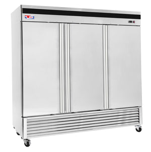 "US Inc USBV-70R - 82"" Reach-in Refrigerator, 3 Section, Bottom Mount, 9 Shelves, 3 Solid Door, 71 Cu. Ft. - 115V"