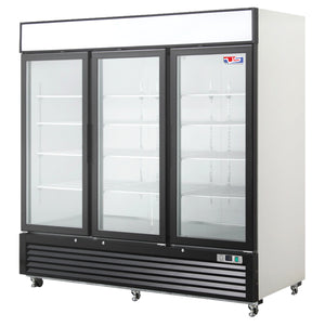 "US Inc USBV-70SDF - 82"" Reach-in Freezer, 3 Section, 3 Glass Door, Bottom Mount, 12 Shelves, 70 Cu. Ft. - 115V"