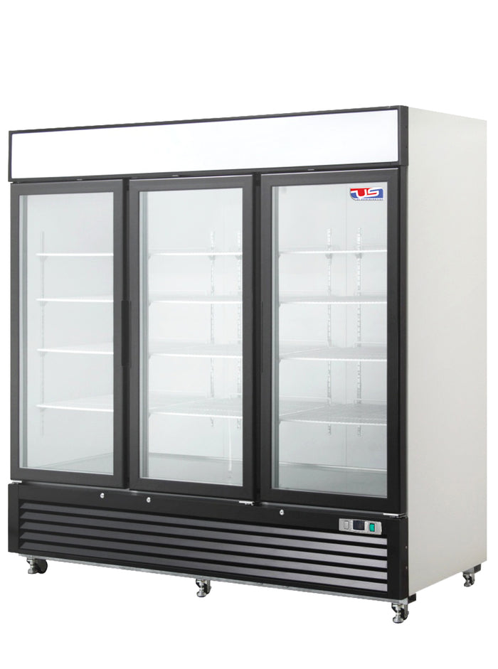 "US Inc USBV-72DF - 82"" Reach-in Freezer, (3) Section, (3) Glass Door, Bottom Mount, (12) Shelves, 72 Cu. Ft. - 115v"