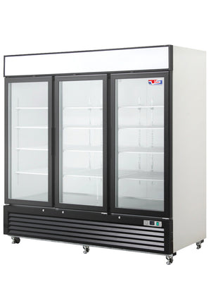 "US Inc USBV-72D - 82"" Reach-in Refrigerator, (3) Section, (3) Glass Door, Bottom Mount, (12) Shelves, 72 Cu. Ft. - 115v"