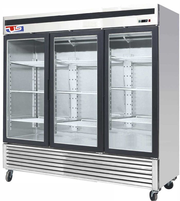 "US Inc USBV-70SD - 82"" Reach-in Refrigerator, 3 Section, 3 Glass Door, Bottom Mount, 12 Shelves, 70 Cu. Ft. - 115V"
