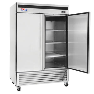 "US Inc USBV-48R - 54.4"" Reach-in Refrigerator, 2 Section, Bottom Mount, 6 Shelves, 2 Solid Doors, 46 Cu. Ft. - 115V"