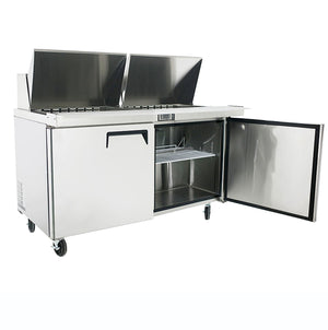 "US Inc USSMV-60 - 60.2"" Mega Top Sandwich / Salad Preparation Refrigerator, (2) Section, (2) Doors, (2) Shelves, 19 Cu. Ft. - 115v"