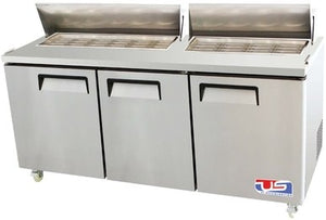 "US INC USSMV-73 - 72.7"" Mega Top Sandwich / Salad Preparation Refrigerator, (3) Doors, (3) Shelves, 23 Cu. Ft., 1/2 HP"