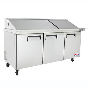"US Inc USSMV-73 - 72.7"" Mega Top Sandwich / Salad Preparation Refrigerator, (3) Section, (3) Doors, (3) Shelves, 23 Cu. Ft. - 115v"