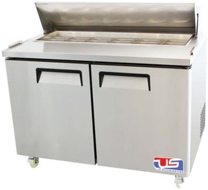 "US INC USSV-48 - 48.2"" Sandwich / Salad Preparation Refrigerator, (2) Doors, (1) Shelves, (12) Pans, 12 Cu. Ft."